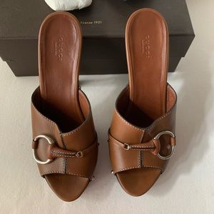 GUCCI Leather Brown High Heel Sandal | Size 41